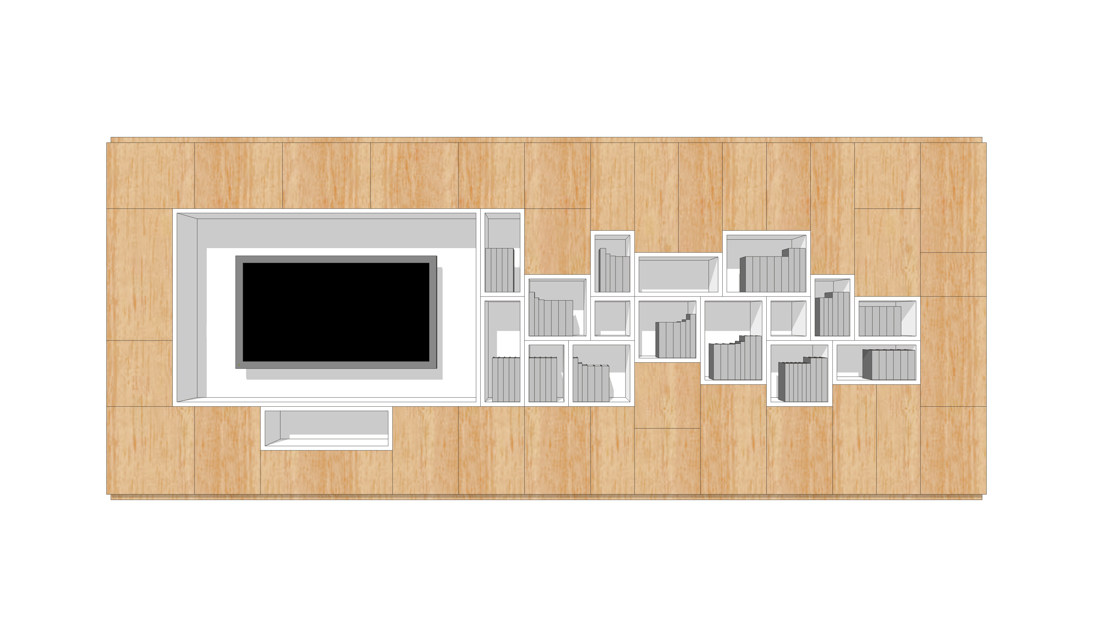 wall storage-cells-wood-front